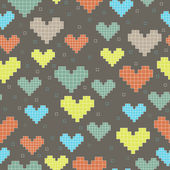 Seamless pattern with hearts on a dark background — Stock Vector