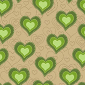 Seamless pattern with green hearts — Stock Vector