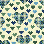 Seamless pattern with lots of green hearts — Stock Vector