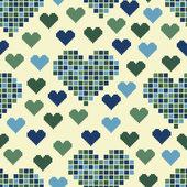 Yeşil kalp bir sürü ile seamless modeli — Stok Vektör