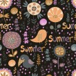 Seamless summer pattern with flowers, birds and hearts — Imagen vectorial