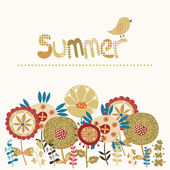 Decorative card with a summer illustration — Stock Vector