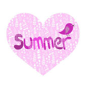 Summer illustration, heart and bird — Vector de stock