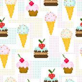 Nahtlose Muster mit Pixel-Süßigkeiten — Stockvektor