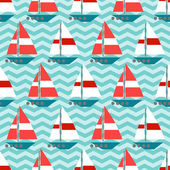 Seamless pattern with sailboats on the waves — Stock Vector