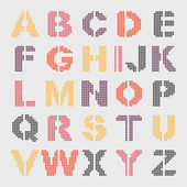 Pixel geometric alphabet — Vector de stock