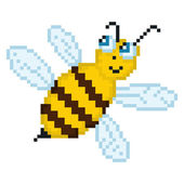 Illustration pixel bee — Stock Vector
