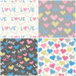 Stock Vector: Set of seamless patterns with pixel hearts