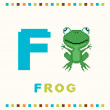Alphabet for children, letter f and a frog isolated — Stock Vector