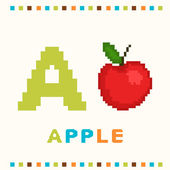 Alphabet for children, letter a and an apple isolated — Stock Vector