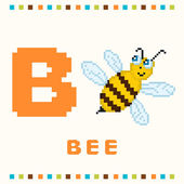 Алфавит для детей, буква b и изолированные пчела — Cтоковый вектор