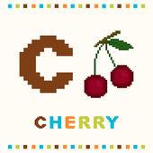 Alfabeto para niños, letra c y una cereza aislado — Vector de stock