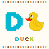 Alphabet for children, letter d and a duck isolated — Stock Vector