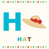 Alphabet for children, letter h and a hat isolated — Stock Vector