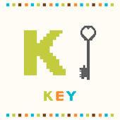 Alfabetet för barn, bokstaven k och en nyckel som isolerade — Stockvektor