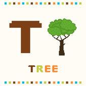 Alfabetet för barn, bokstaven t och ett träd som isolerade — Stockvektor