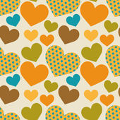 Seamless retro pattern with hearts — Stock Vector