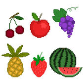 Set fruit in pixel art style on a white background — Stock Vector