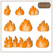 Set fire isolated on a white background — Stock Vector