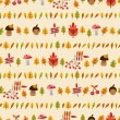 Autumn seamless pattern with mushrooms, berries and leaves — Stock Vector