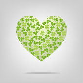 Heart with clover pattern — Stock Vector