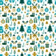 Seamless pattern with Christmas symbols — Stock Vector