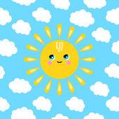 雲の中で笑っている太陽の図 — ストックベクタ