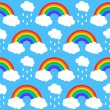 Seamless pattern with rainbows and clouds on a blue background — Stock Vector