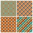 Set of seamless geometric retro patterns — Stock Vector