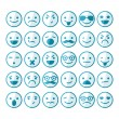 Set of smileys in different emotions and moods — Stock Vector