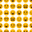 Seamless pattern with cheerful and happy smileys — Stock Vector