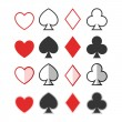 Set of hearts, clubs, spades and dimonds icons, card suit — Stock Vector