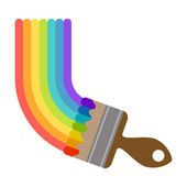 Vector illustration brush painting rainbow — Stock Vector