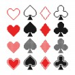 Set of pixel hearts, clubs, spades and diamonds icons, card suit — Stock Vector
