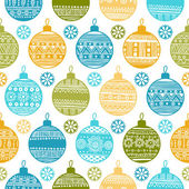 Seamless pattern with Christmas balls and snowflakes — Stock Vector