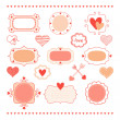 Set romantic frames and hearts — Stock Vector