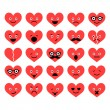 Set of Valentine hearts smiles in different emotions — Stock Vector