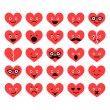 Set of Valentine hearts smiles in different emotions — Stock Vector #37099561