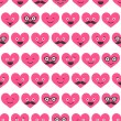 Seamless pattern with Valentine hearts smiles — Stock Vector