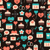 Seamless pattern for Valentine's day on dark background — Stock Vector