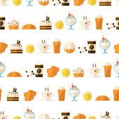Seamless mönster med dessert och dryck — Stockvektor