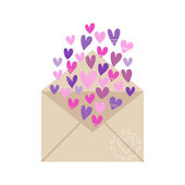 Envelope with hearts isolated on white background — Stock Vector