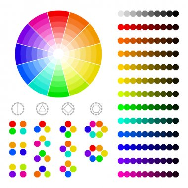 Color wheel with shade of colors,color harmony