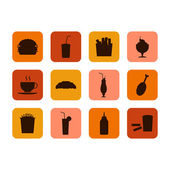 Fast food icon, set of food and drinks — Stock Vector