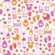 Seamless baby pattern, endless background of baby icons — Stock Vector