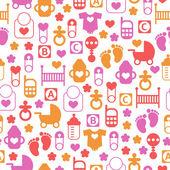 Modèle de bébé sans soudure, fond sans fin d'icônes pour bébés — Vecteur