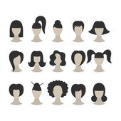 Set of black hairstyles for woman isolated on white background — Stock Vector