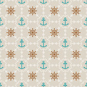 Seamless sea background of anchors and hand wheels, endless pattern — Stock Vector