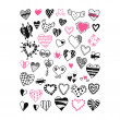 Stock Vector: Set of hand drawn heart symbols