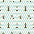 Seamless sea pattern of anchors and waves — Stock Vector